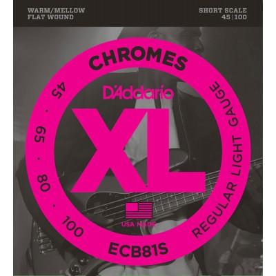 D'ADDARIO AND CO ECB81S CHROMES BASS GUITAR STRINGS LIGHT 45-100 SHORT SCALE