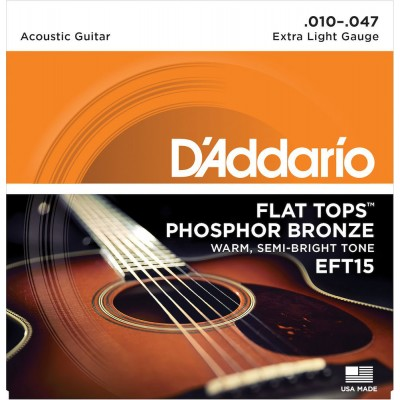 D'ADDARIO AND CO EFT15 FLAT TOPS PHOSPHOR BRONZE ACOUSTIC GUITAR STRINGS EXTRA LIGHT 10-47