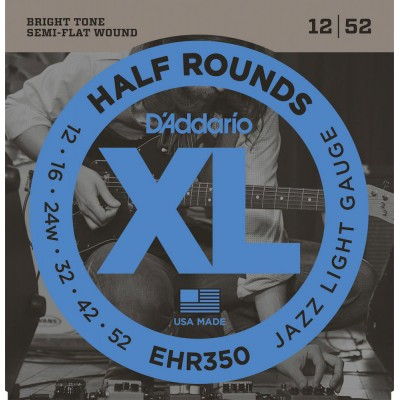 D'ADDARIO AND CO EHR350 HALF ROUND ELECTRIC GUITAR STRINGS JAZZ LIGHT 12-52