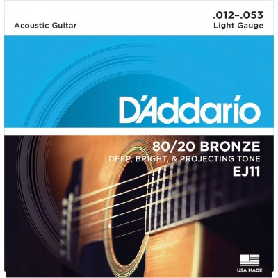 D'ADDARIO AND CO EJ11 80/20 BRONZE ACOUSTIC GUITAR STRINGS LIGHT 12-53