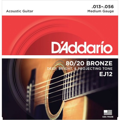D'ADDARIO AND CO EJ12 80/12 BRONZE ACOUSTIC GUITAR STRINGS MEDIUM 13-56