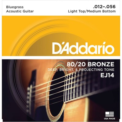 D'ADDARIO AND CO EJ14 80/20 BRONZE ACOUSTIC GUITAR STRINGS LIGHT TOP/MEDIUM BOTTOM/BLUEGRASS 12-56