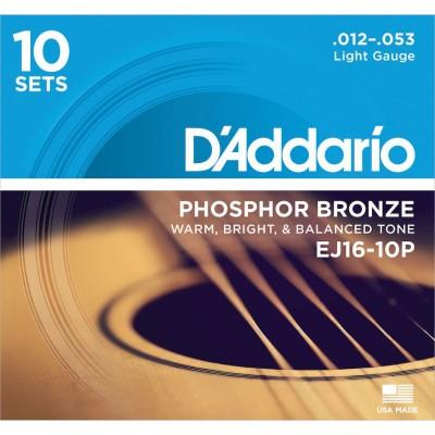 D'ADDARIO AND CO EJ16-10P TEN PACK 12-53 LIGHT PHOSPHORE BRONZE