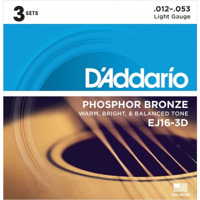D'ADDARIO AND CO OF 3 ACOUSTIC SETS EJ16 12 16 24 32 42 53