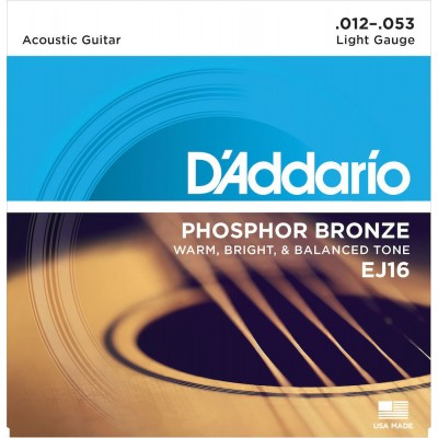 D'ADDARIO AND CO EJ16 PHOSPHOR BRONZE ACOUSTIC GUITAR STRINGS LIGHT 12-53