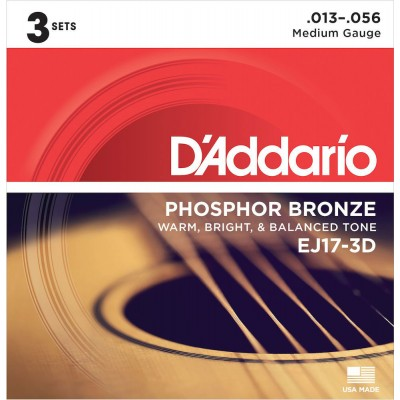 D'ADDARIO AND CO PHOSPHOROUS BRONZE STRINGS FOR ACOUSTIC GUITAR EJ17-3D MEDIUM 13-56 3-PLAYERS