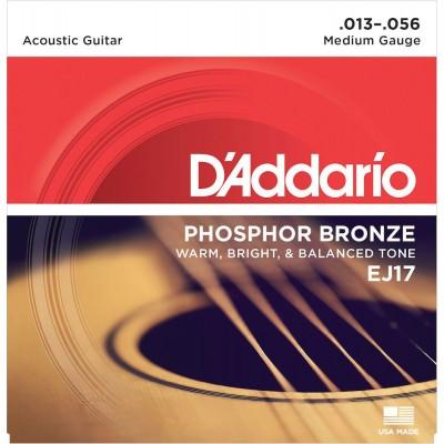 D'ADDARIO AND CO EJ17 PHOSPHOR BRONZE ACOUSTIC GUITAR STRINGS MEDIUM 13-56
