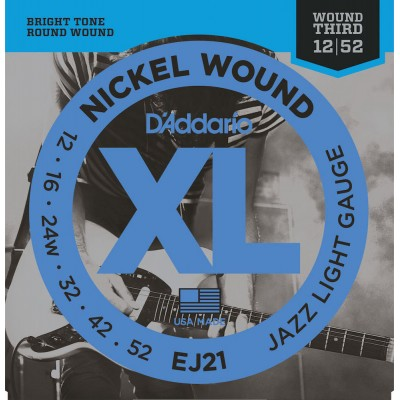 D'ADDARIO AND CO EJ21 JAZZ LIGHT 12-52 - WOUND 3RD G STRING