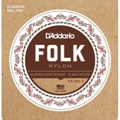 D'ADDARIO AND CO EJ32C FOLK GUITAR STRINGS EJ32C NYLON END WITH SILVER NET/TRANSPARENT NYLON HIGH-PITCHED BALL