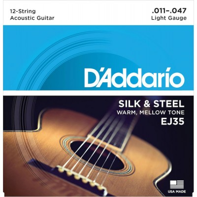 D'ADDARIO AND CO SILK AND STEEL STRINGS FOR FOLK GUITAR 12 STRINGS EJ35 11-47