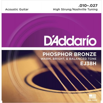 3 Sets  D/'Addario EJ38H Acoustic Guitar Strings Nashville Tuning 10-27