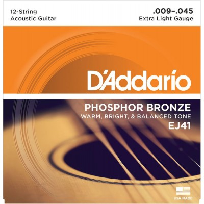D'ADDARIO AND CO EJ41 12-STRING PHOSPHOR BRONZE ACOUSTIC GUITAR STRINGS EXTRA LIGHT 9-45