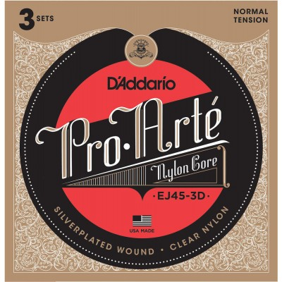 D'ADDARIO AND CO EJ45-3D PRO-ARTE NYLON CLASSICAL GUITAR STRINGS NORMAL TENSION 3 SETS