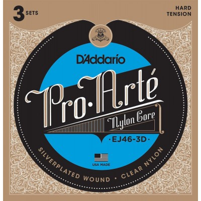 D'ADDARIO AND CO EJ46-3D PRO-ARTE NYLON CLASSICAL GUITAR STRINGS HARD TENSION 3 SETS