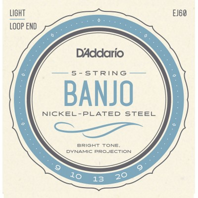 D'ADDARIO AND CO EJ60 5-STRING BANJO STRINGS NICKEL LIGHT 9-20