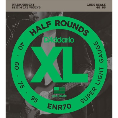 D'ADDARIO AND CO ENR70 HALF ROUND BASS GUITAR STRINGS SUPER LIGHT 40-95 LONG SCALE
