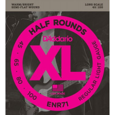 D'ADDARIO AND CO ENR71 HALF ROUND BASS GUITAR STRINGS REGULAR LIGHT 45-100 LONG SCALE