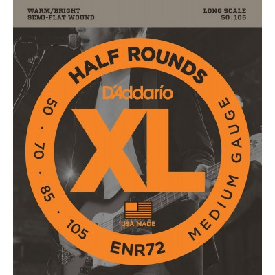 D'ADDARIO AND CO ENR72 HALF ROUND BASS GUITAR STRINGS MEDIUM 50-105 LONG SCALE