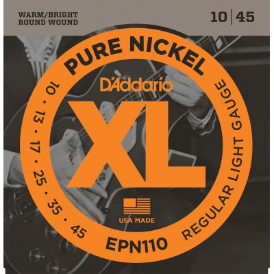 D'ADDARIO AND CO EPN110 PURE NICKEL ELECTRIC GUITAR STRINGS REGULAR LIGHT 10-45