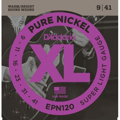 D'ADDARIO AND CO EPN120 PURE NICKEL ELECTRIC GUITAR STRINGS SUPER LIGHT 9-41
