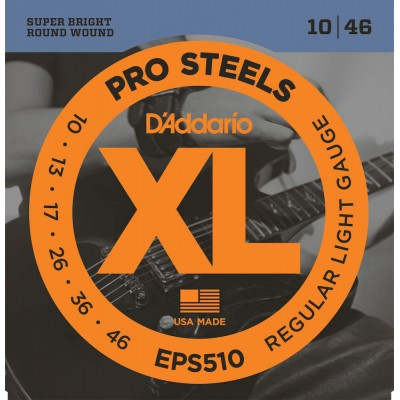 D'ADDARIO AND CO EPS510 PROSTEELS ELECTRIC GUITAR STRINGS REGULAR LIGHT 10-46
