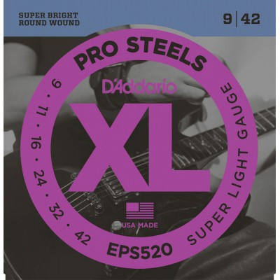 D'ADDARIO AND CO EPS520 PROSTEELS ELECTRIC GUITAR STRINGS SUPER LIGHT 9-42
