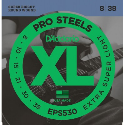 D'ADDARIO AND CO EPS530 PROSTEELS ELECTRIC GUITAR STRINGS EXTRA-SUPER LIGHT 8-38