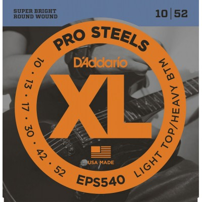 D'ADDARIO AND CO EPS540 PROSTEELS ELECTRIC GUITAR STRINGS LIGHT TOP/HEAVY BOTTOM 10-52
