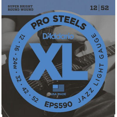 D'ADDARIO AND CO EPS590 PROSTEELS ELECTRIC GUITAR STRINGS JAZZ LIGHT 12-52