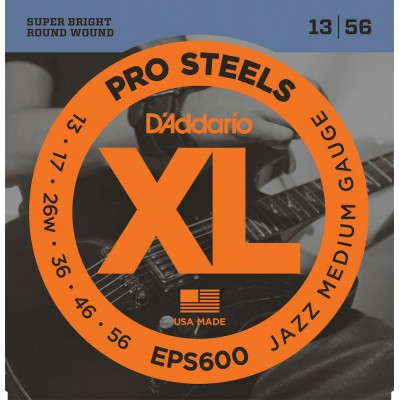 D'ADDARIO AND CO EPS600 PROSTEELS ELECTRIC GUITAR STRINGS JAZZ MEDIUM 13-56