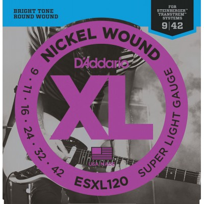 D'ADDARIO AND CO ESXL120 NICKEL WOUND ELECTRIC GUITAR STRINGS SUPER LIGHT DOUBLE BALL END 9-42