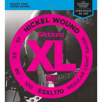 D'ADDARIO AND CO ESXL170 NICKEL WOUND BASS GUITAR STRINGS LIGHT 45-100 DOUBLE BALL END LONG SCALE