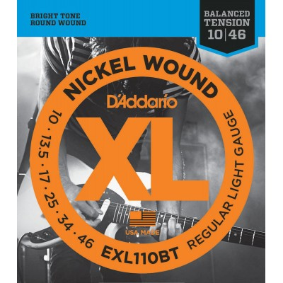 D'ADDARIO AND CO EXL110BT NICKEL WOUND ELECTRIC GUITAR STRINGS BALANCED TENSION REGULAR LIGHT 10-46