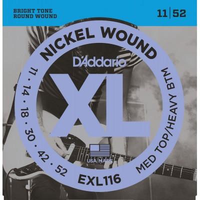 D'ADDARIO AND CO EXL116 NICKEL WOUND ELECTRIC GUITAR STRINGS MEDIUM TOP/HEAVY BOTTOM 11-52