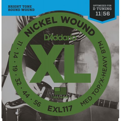 D'ADDARIO AND CO EXL117 NICKEL WOUND ELECTRIC GUITAR STRINGS MEDIUM TOP/EXTRA-HEAVY BOTTOM 11-56