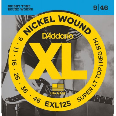 D'ADDARIO AND CO EXL125 NICKEL WOUND ELECTRIC GUITAR STRINGS SUPER LIGHT TOP/ REGULAR BOTTOM 9-46