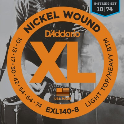 D'ADDARIO AND CO EXL140-8 8-STRING NICKEL WOUND ELECTRIC GUITAR STRINGS LIGHT TOP/HEAVY BOTTOM 10-74