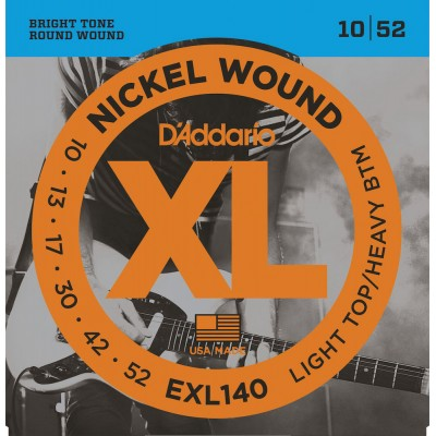 D'ADDARIO AND CO EXL140 NICKEL WOUND ELECTRIC GUITAR STRINGS LIGHT TOP/HEAVY BOTTOM 10-52