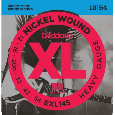 D'ADDARIO AND CO EXL145 NICKEL WOUND ELECTRIC GUITAR STRINGS HEAVY 12-54 WITH PLAIN STEEL 3RD