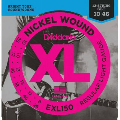 D'ADDARIO AND CO EXL150 NICKEL WOUND ELECTRIC GUITAR STRINGS 12-STRING REGULAR LIGHT 10-46