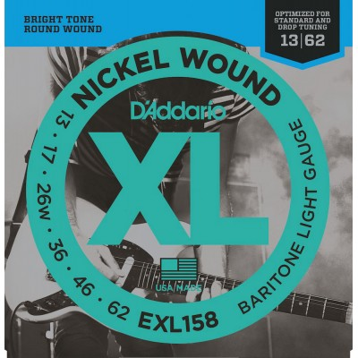 D'ADDARIO AND CO EXL158 NICKEL WOUND ELECTRIC GUITAR STRINGS BARITONE LIGHT 13-62