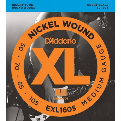 D'ADDARIO AND CO EXL160S NICKEL WOUND BASS GUITAR STRINGS MEDIUM 50-105 SHORT SCALE