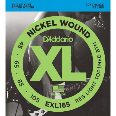D'ADDARIO AND CO EXL165 NICKEL WOUND BASS GUITAR STRINGS CUSTOM LIGHT 45-105 LONG SCALE