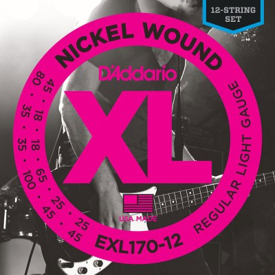 D'ADDARIO AND CO EXL170-12 NICKEL WOUND BASS GUITAR STRINGS LIGHT 18-45
