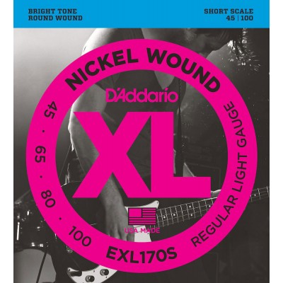 D'ADDARIO AND CO EXL170S NICKEL WOUND BASS GUITAR STRINGS LIGHT 45-100 SHORT SCALE