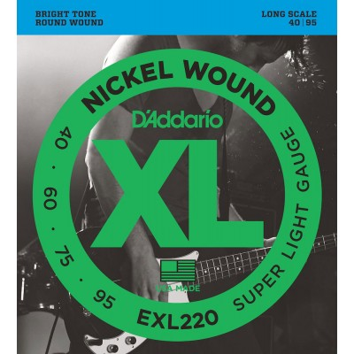 D'ADDARIO AND CO EXL220 NICKEL WOUND BASS GUITAR STRINGS SUPER LIGHT 40-95 LONG SCALE