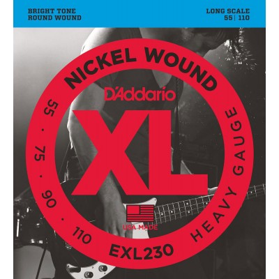 D'ADDARIO AND CO EXL230 NICKEL WOUND BASS GUITAR STRINGS HEAVY 55-110 LONG SCALE