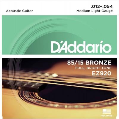 D'ADDARIO AND CO EZ920 AMERICAN BRONZE 85/15 MEDIUM LIGHT 12-54