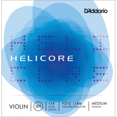 D'ADDARIO AND CO HELICORE VIOLIN STRING SET 1/4 NECK MEDIUM TENSION