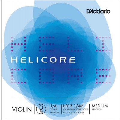 D'ADDARIO AND CO SINGLE STRING (RE) FOR VIOLIN 1/4 HELICORE MEDIUM TENSION